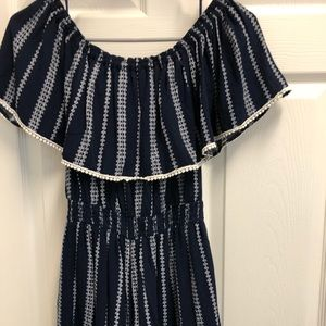 Lulu's Romper. Navy blue and white.